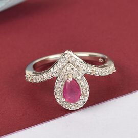 African Ruby (FF) and Natural Cambodian Zircon Ring in Platinum Overlay Sterling Silver