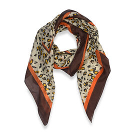 100% Mulberry Silk Animal Print Scarf (Size 100x100 Cm) - Gold and Multicolour