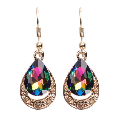 2 Piece Set - Simulated Mystic Topaz and Multi Colour Austrian Crystal Necklace (Size 22 with Extender) and Hook Earrings in Gold Tone