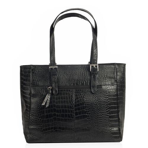 Close Out Deal 100% Genuine Leather Snake Skin Embossed Black Colour Tote Handbag with Shoulder Strap (40x35x12.5x25 Cm)