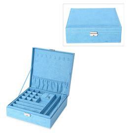 2 Tier Velvet Jewellery Box with Lock and Removable Tray (Size 26.3x26.3x8.5 Cm) - Light Blue