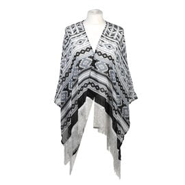 Poncho Style Summer Beach Covering with Tassel in Black and White (Length 60cm)