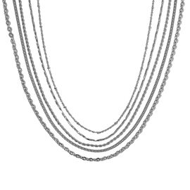 Set of 5 - Stainless Steel Rope, Oval Link, Curb, Prince of Wales and Twisted Link  Necklace (Size 20, 24, 30)