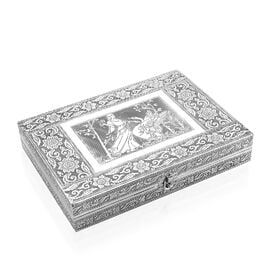 Lady with Swan Embossed Ring Organizer Box with 9 Slots and Red Velvet Lining (Size 27.94x20.3x5.08