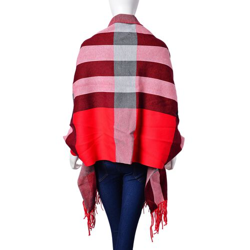 Designer Inspired - Red, White and Multi Colour Checks Pattern Kimono with Tassels (Free Size)