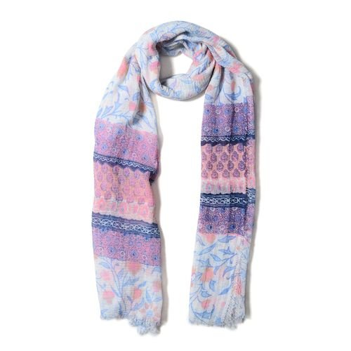 White, Pink and Blue Colour Small Flower with Strip Pattern Scarf (Size 170x90 Cm)