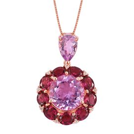 Rose De France Amethyst (Rnd 4.50 Ct), Rhodolite Garnet and Natural White Cambodian Zircon Flower Pendant with Chain in Rose Gold Overlay Sterling Silver 9.600 Ct. Silver wt 5.52 Gms.