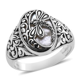 Bali Legacy White Shell Dragonfly Ring in Sterling Silver 5.40 Grams