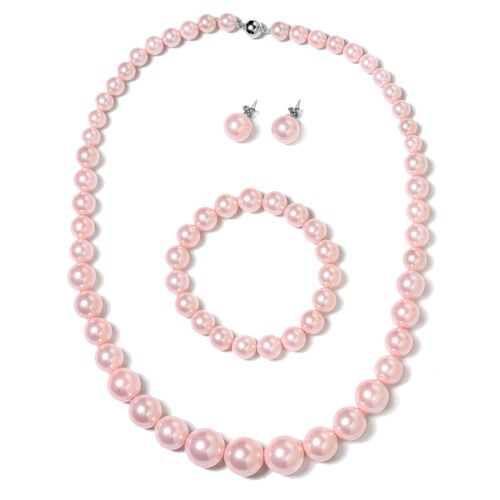 Peach Shell Pearl (Rnd), Graduated Necklace (Size 20) with Magnetic Lock, Strechable Bracelet (Size 7) and Stud Earrings (with Push Back) in Rhodium Plated Sterling Silver