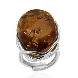 Signature Collection- Baltic Amber (Ovl 26x17mm) Ring in Sterling Silver 22.000 Ct. Silver wt 6.60 Gms.