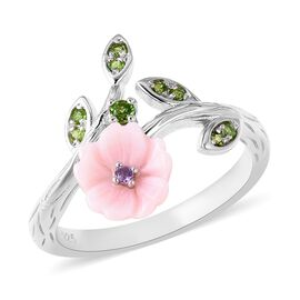 Pink Mother of Pearl (1.00 Ct),Russian Diopside,African Amethyst Sterling Silver Ring  1.320  Ct.