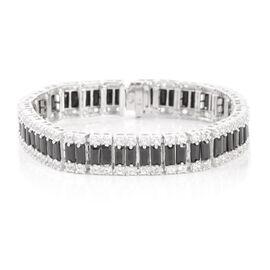 Boi Ploi Black Spinel (Bgt), White Topaz Bracelet in Rhodium Plated Sterling Silver (Size 6.75) 22.500 Ct.