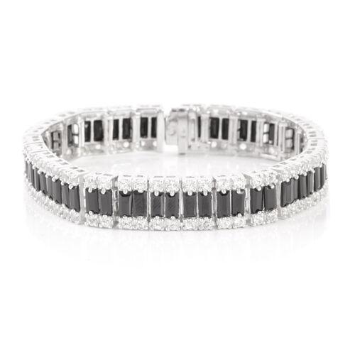 Boi Ploi Black Spinel (Bgt), White Topaz Bracelet in Rhodium Plated Sterling Silver (Size 6.75) 22.5