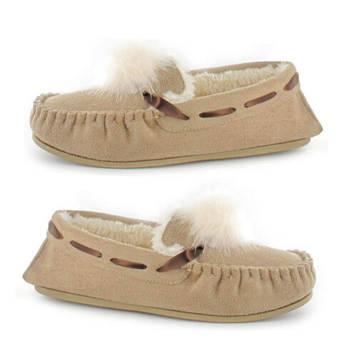 Ella Paula Supersoft Moccasin Pom Pom Slipper (Size 5) - Beige