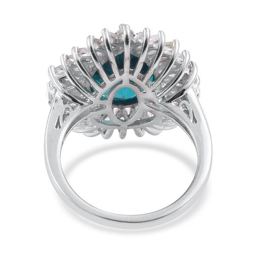 Capri Blue Quartz (Pear 6.00 Ct), White Topaz Ring in Platinum Overlay Sterling Silver 8.400 Ct. Silver wt 5.15 Gms.