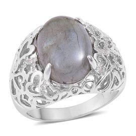 GP Labradorite (Ovl), Madagascar Blue Sapphire and Natural White Cambodian Zircon Ring in Rhodium Pl