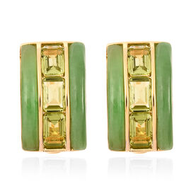 Green Jade and Hebei Peridot Earrings in Yellow Gold Overlay Sterling Silver 12.25 Ct.