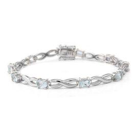 Santa Teresa Aquamarine  Bracelet (Size - 7) in Rhodium Overlay Sterling Silver 3.60 ct,  Sliver Wt.