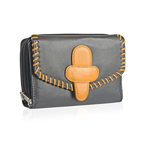 100% Genuine Leather RFID Blocker Black and Yellow Colour Ladies Wallet (Size 16X11X1 Cm)
