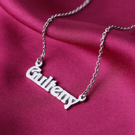 """Personalised Name Necklace in Silver, Font Aidan NO, Size 18+2"""""""