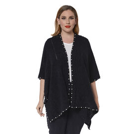 Solid Black Colour Ruana Shawl with Pearl Trim (One size fits all; 98x80cm)