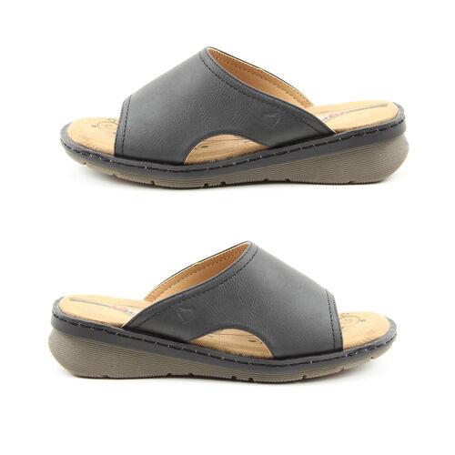 Heavenly Feet Womens Ginger Memory Foam Sandal in Black (Size 8)