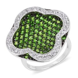 Designer Inspired- Russian Diopside (Rnd), Natural White Cambodian Zircon Ring in Black and Rhodium