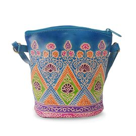 100% Genuine Leather Handmade Printed Shoulder Bag with Zip Closure (Size 19x18 Cm) - Blue and Multi