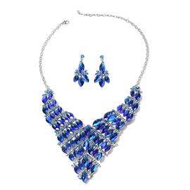 2 Piece Set Simulated Blue Sapphire Earrings and BIB Necklace 20 Inch