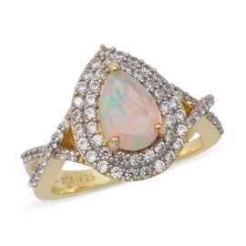 2.64 Ct Ethiopian Welo Opal and Cambodian Zircon Halo Ring in Gold Plated Sterling Silver 5 Grams
