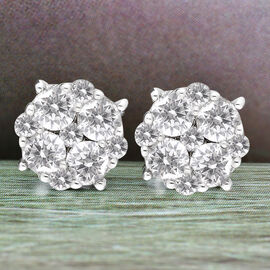9K White Gold SGL Certified Natural Diamond (I3/G-H) Stud Earrings 1.00 Ct.