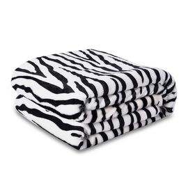 Supersoft Faux Fur Sherpa Blanket with Zebra Pattern (Size 150x200 cm) - Black and White
