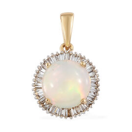 ILIANA 18K Yellow Gold AAA Rare Size Ethiopian Welo Opal (Rnd 9.00mm) and Diamond (SI/G-H) Round Pendant 2.150 Ct.