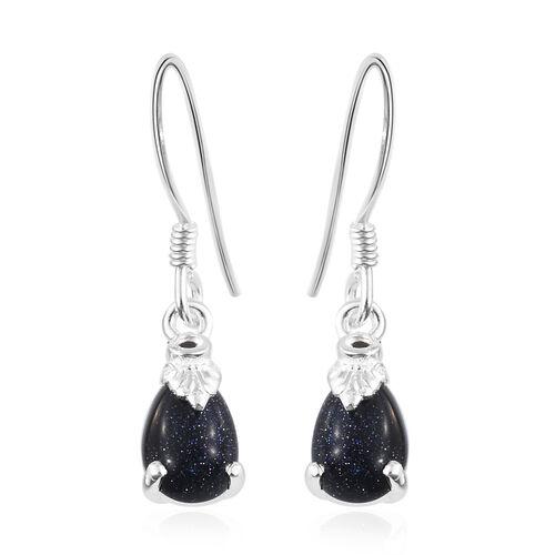 Blue Sandstone (Pear), Boi Ploi Black Spinel Hook Earrings in Sterling Silver 3.00 Ct.