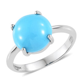 RHAPSODY 950 Platinum AAAA Arizona Sleeping Beauty Turquoise (Rnd) Ring 3.000 Ct.