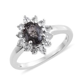 1.50 Ct Platinum Spinel and Topaz Halo Ring in Platinum Plated Silver