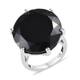 35 Carat Natural Boi Ploi Black Spinel Solitaire Ring in Platinum Plated Silver 5.25 grams