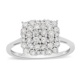 9K White Gold SGL Certified White Diamond (I3/G-H) Ring 1.00 Ct.