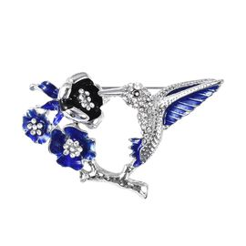 White and Black Austrian Crystal Hummingbird Brooch with Enameling
