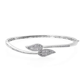 GP- Energy of Life Collection-Diamond (Rnd and Bgt), Kanchanaburi Blue Sapphire Leaf Bangle (Size 7.5) in Platinum Overlay Sterling Silver 1.280 Ct, Silver wt 16.60 Gms, Number of Diamonds 168.