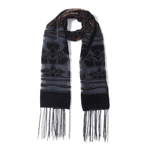 Black and Coffee Colour Flower and Square Pattern Scarf (Size 155x50 Cm)