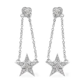 GP 0.37 Ct Diamond and Blue Sapphire Star Heart Dangle Earrings in Platinum Plated Silver