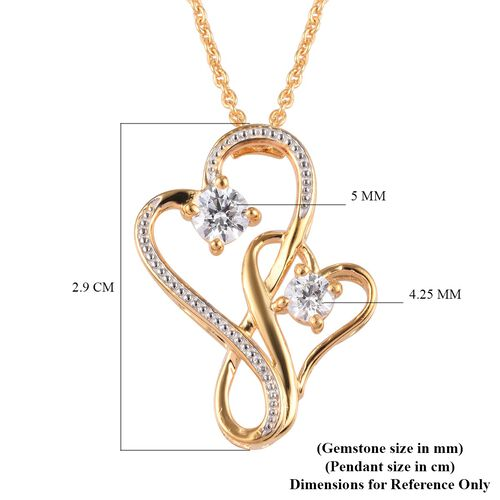 J Francis - 14K Gold Overlay Sterling Silver (Rnd) Heart Pendant With Chain (Size 20) Made with SWAROVSKI ZIRCONIA