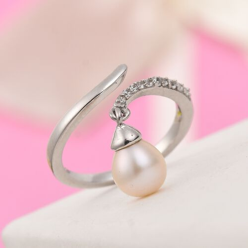 Freshwater Pearl and Natural Cambodian Zircon Ring in Platinum Overlay Sterling Silver