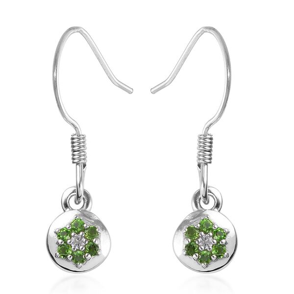Russian Diopside and Natural Cambodian Zircon Floral Hook Earrings in Platinum Overlay Sterling Silv