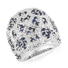 Kanchanaburi Blue Sapphire (Rnd), Diamond Cluster Ring in Platinum Overlay Sterling Silver 2.500 Ct,