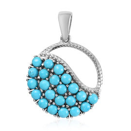 Arizona Sleeping Beauty Turquoise (Rnd) Pendant in Platinum Overlay Sterling Silver 2.00 Ct.
