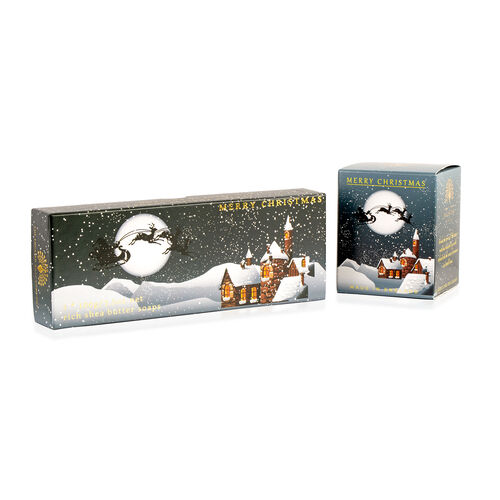 The English Soap Company: Classic Gift Boxed Winter Village Soap (Set of 3) & Winter Village Candle