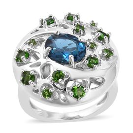 RACHEL GALLEY London Blue Topaz (Ovl), Russian Diopside Ring in Rhodium Overlay Sterling Silver 3.23
