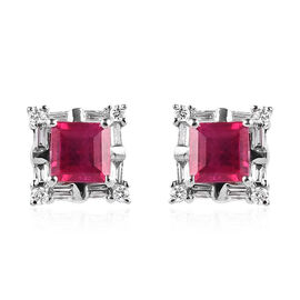 RHAPSODY 950 Platinum AAAA Burmese Ruby (Sqr), Diamond (VS/E-F) Stud Earrings (with Screw Back) 1.15
